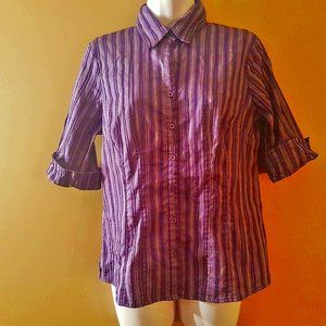 Tops - 3/4 sleeve length Purple striped blouse